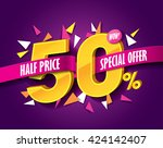 half price sale concept with... | Shutterstock .eps vector #424142407