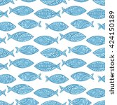 fish. paisley. seamless vector... | Shutterstock .eps vector #424150189