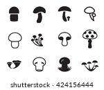 vector mushroom icon collection.... | Shutterstock .eps vector #424156444