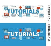 tutorials lettering flat line... | Shutterstock .eps vector #424156894