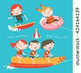 summer child's outdoor... | Shutterstock .eps vector #424164139