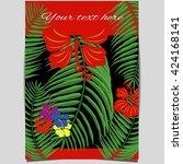 red tropical brochure flyer...   Shutterstock .eps vector #424168141