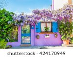violet house with violet... | Shutterstock . vector #424170949