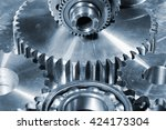giant cogs and gears made of... | Shutterstock . vector #424173304