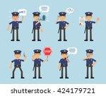 set of policeman characters... | Shutterstock .eps vector #424179721