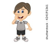 a boy with a gray shirt and...   Shutterstock . vector #424191361
