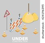 road repair  under construction ... | Shutterstock .eps vector #424196395