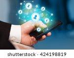 finger pointing on smartphone... | Shutterstock . vector #424198819