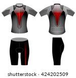 tech red lighting cycling vest... | Shutterstock .eps vector #424202509