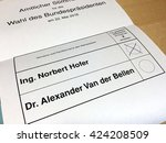 Small photo of Austria - May 22, 2016: second round of the austrian presidential election 2016 between Norbert Hofer from the Freedom Party Of Austria and Alexander Van der Bellen from Independent Green is required