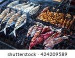Grilled Fresh Seafood  Prawns ...