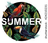vector painting with tropical... | Shutterstock .eps vector #424210231