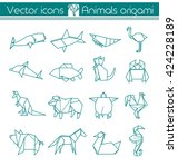 animals origami  vector icons | Shutterstock .eps vector #424228189