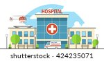 vector flat hospital... | Shutterstock .eps vector #424235071
