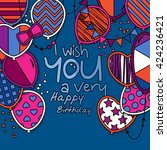 happy birthday greeting card.... | Shutterstock .eps vector #424236421