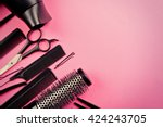 hairdresser set with various... | Shutterstock . vector #424243705