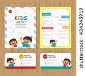 cute colorful kids meal menu... | Shutterstock .eps vector #424245919