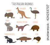 vector set of australian... | Shutterstock .eps vector #424253737