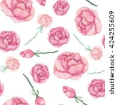 watercolor roses seamless... | Shutterstock . vector #424255609