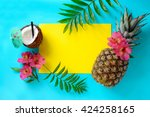 tropical fruits background with ... | Shutterstock . vector #424258165