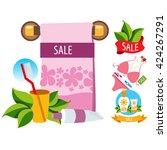 sale. towel  cosmetics ... | Shutterstock .eps vector #424267291