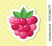 simple cute raspberries fruit... | Shutterstock .eps vector #424268179