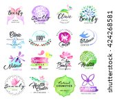 hand drawn watercolor labels... | Shutterstock .eps vector #424268581