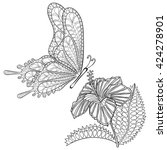 hand drawn zentangle tribal... | Shutterstock .eps vector #424278901