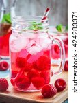 raspberry lemonade in mason jar ... | Shutterstock . vector #424283371