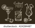 vector set of vintage cocktails ... | Shutterstock .eps vector #424284487