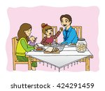 illustration of a little girl... | Shutterstock .eps vector #424291459