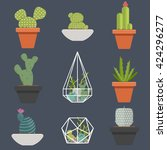 set of succulent plants and...   Shutterstock .eps vector #424296277