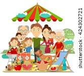 picnic family vector | Shutterstock .eps vector #424302721