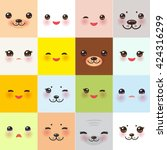 kawaii funny muzzle set with... | Shutterstock .eps vector #424316299