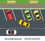 park with parking places  car...   Shutterstock .eps vector #424316431