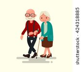 elderly couple walking. vector... | Shutterstock .eps vector #424318885