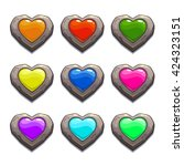 cartoon stone hearts set ...