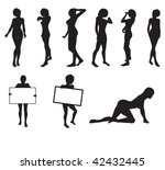 girl silhouettes in vector in... | Shutterstock .eps vector #42432445