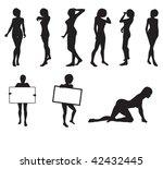 girl silhouettes in vector in... | Shutterstock .eps vector #42432445