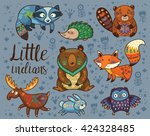 little indians. woodland tribal ... | Shutterstock .eps vector #424328485