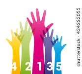 color hands up with numbers | Shutterstock .eps vector #424332055