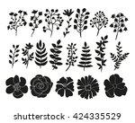 hand drawn floral elements set. ... | Shutterstock . vector #424335529