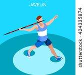 athletics javelin sportsman... | Shutterstock .eps vector #424335874