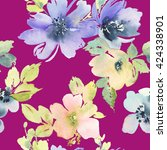seamless pattern with flowers... | Shutterstock . vector #424338901