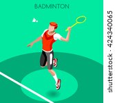 badminton player sportsman... | Shutterstock .eps vector #424340065