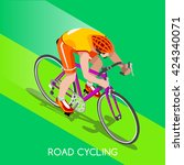 road cycling cyclist bicyclist... | Shutterstock .eps vector #424340071