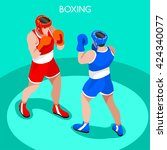 boxing players fighting...   Shutterstock .eps vector #424340077