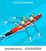 canoe rowing team sportsman... | Shutterstock .eps vector #424340089