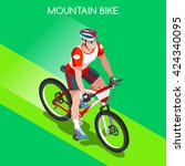 mountain bike cyclist bicyclist ... | Shutterstock .eps vector #424340095