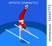 artistic gymnastics parallels...   Shutterstock .eps vector #424347775